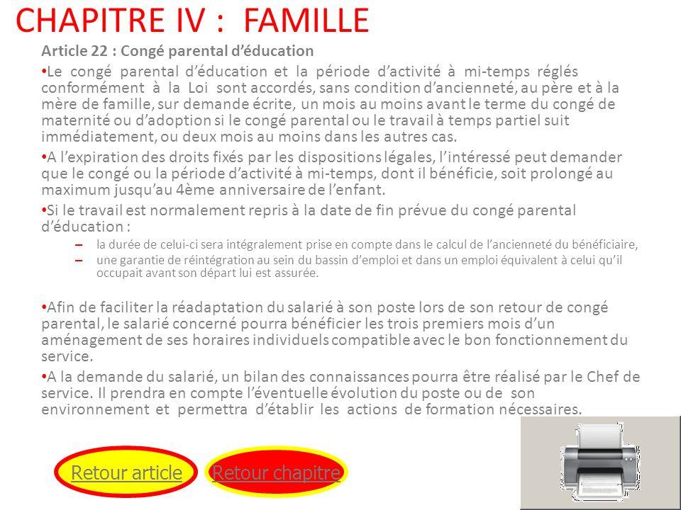 CHAPITRE IV : FAMILLE Retour article Retour chapitre