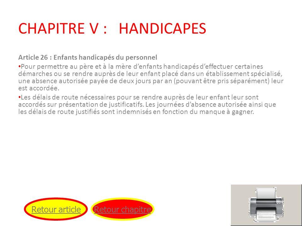 CHAPITRE V : HANDICAPES
