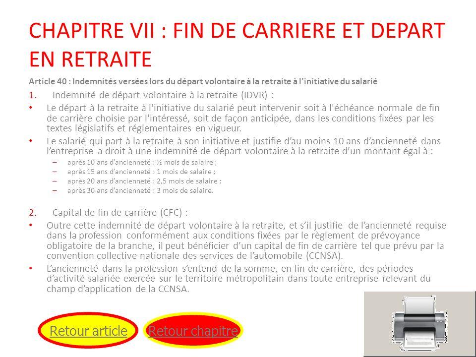CHAPITRE VII : FIN DE CARRIERE ET DEPART EN RETRAITE