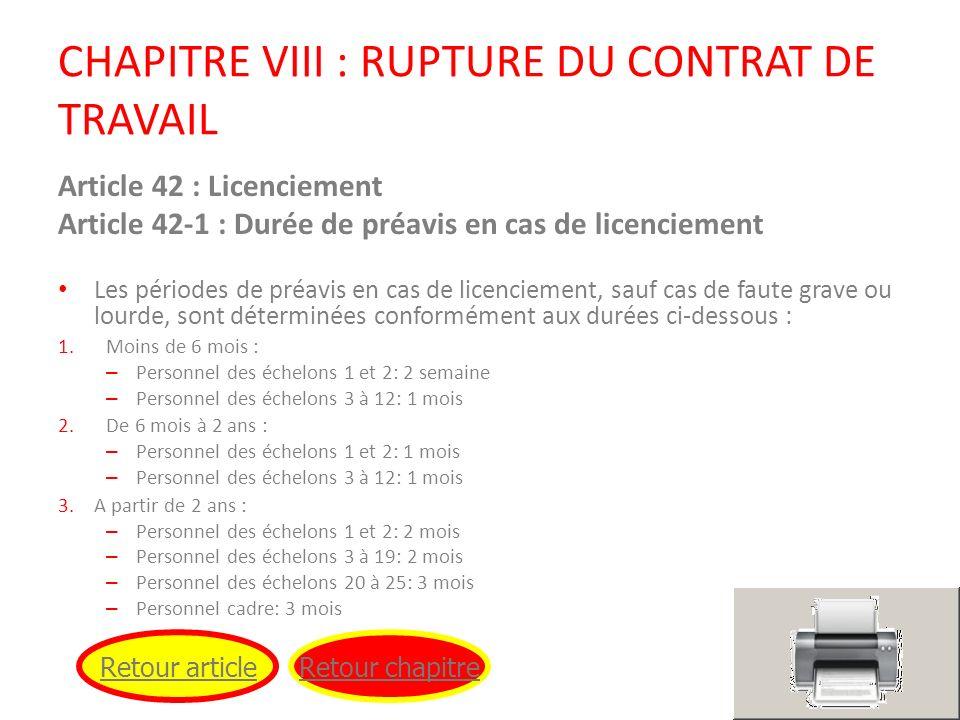CHAPITRE VIII : RUPTURE DU CONTRAT DE TRAVAIL