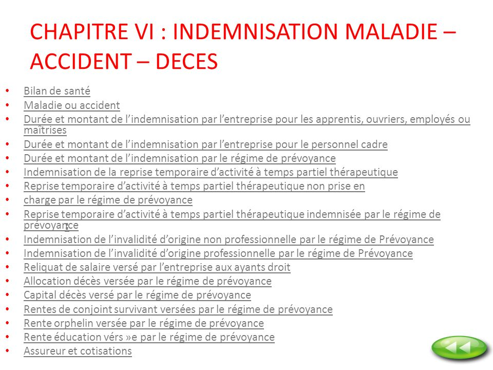 CHAPITRE VI : INDEMNISATION MALADIE – ACCIDENT – DECES