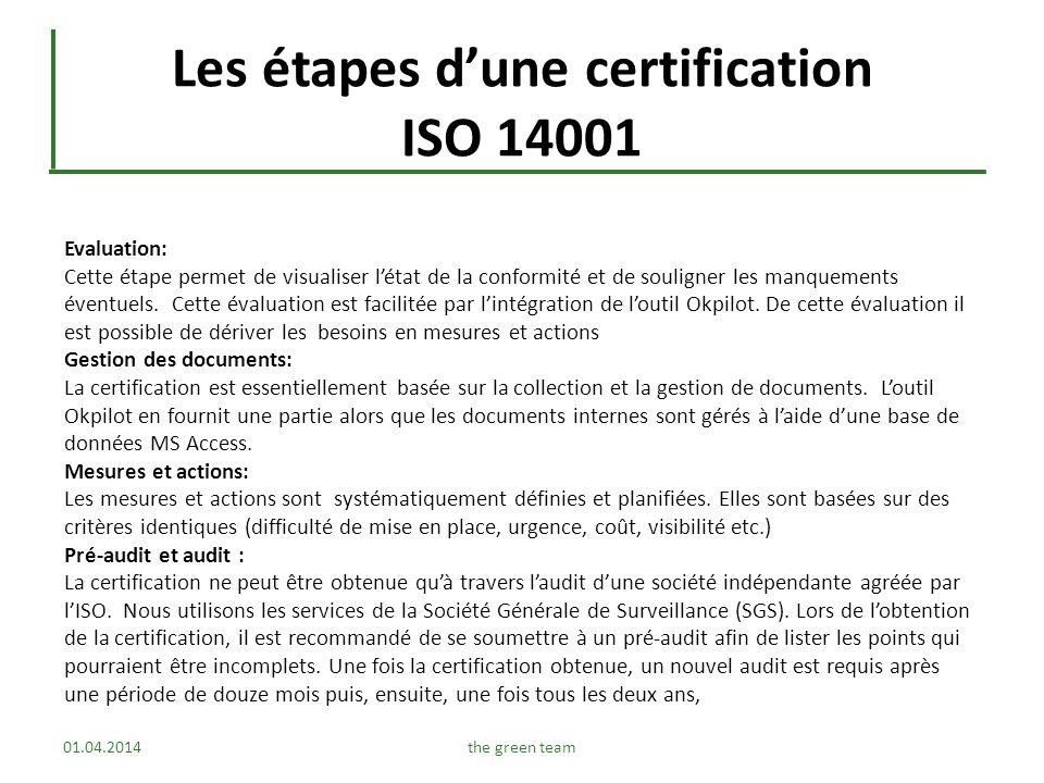 Les étapes d'une certification ISO 14001
