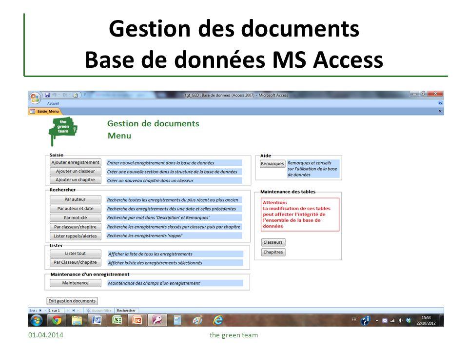 Gestion des documents Base de données MS Access