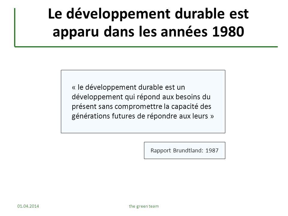 Le développement durable est apparu dans les années 1980