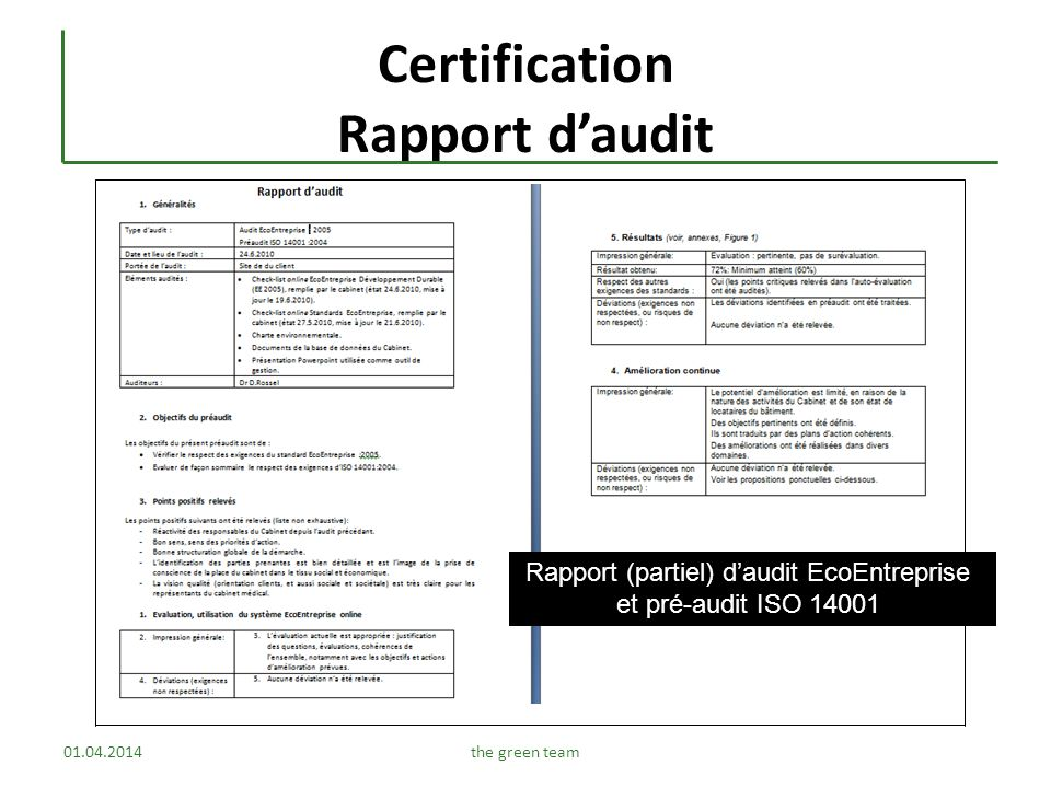 Certification Rapport d'audit