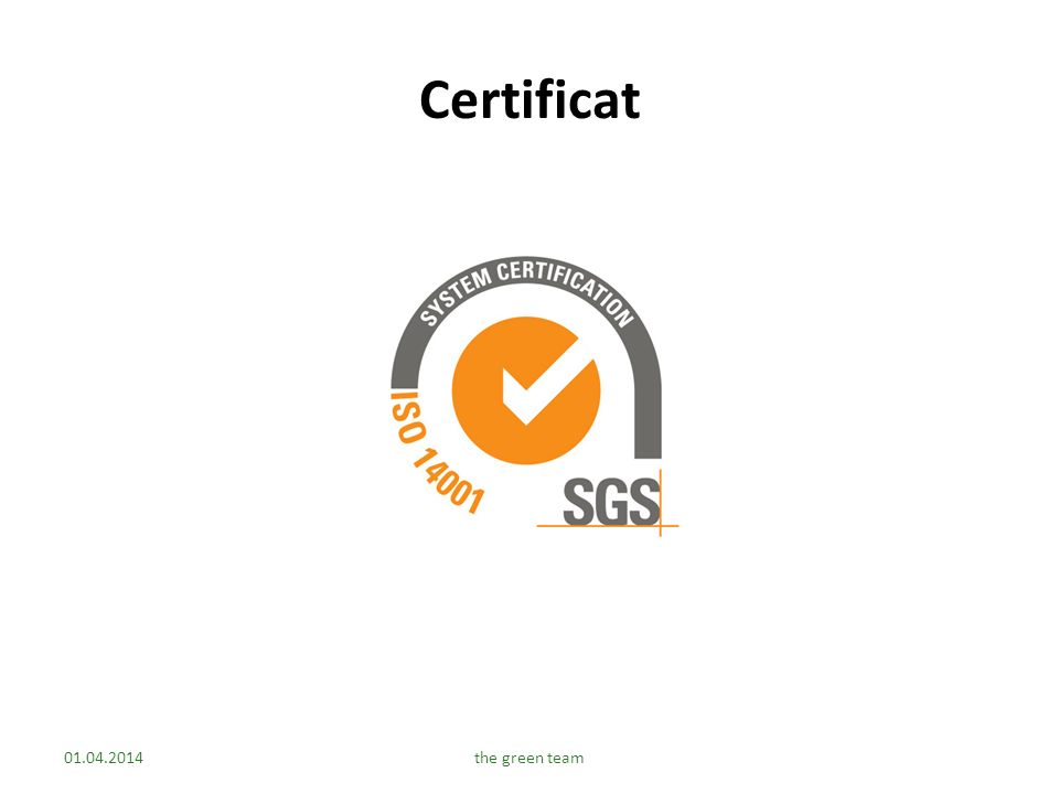 Certificat 30.03.2017 the green team