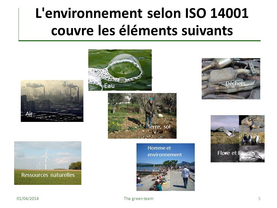 L environnement selon ISO 14001 couvre les éléments suivants