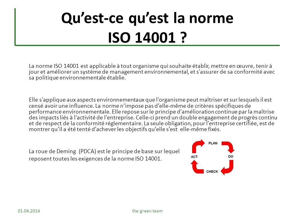 Qu'est-ce qu'est la norme ISO 14001