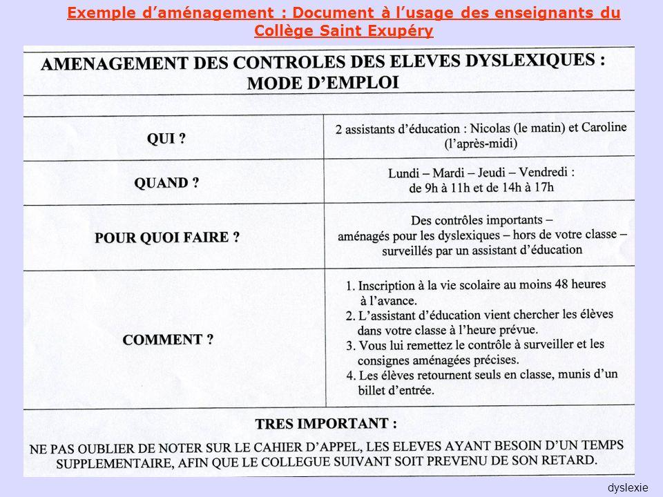 Exemple d'aménagement : Document à l'usage des enseignants du Collège Saint Exupéry