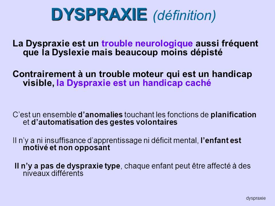 DYSPRAXIE (définition)