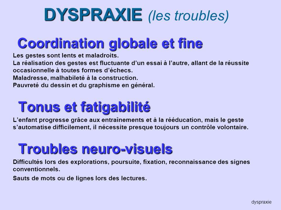 DYSPRAXIE (les troubles)