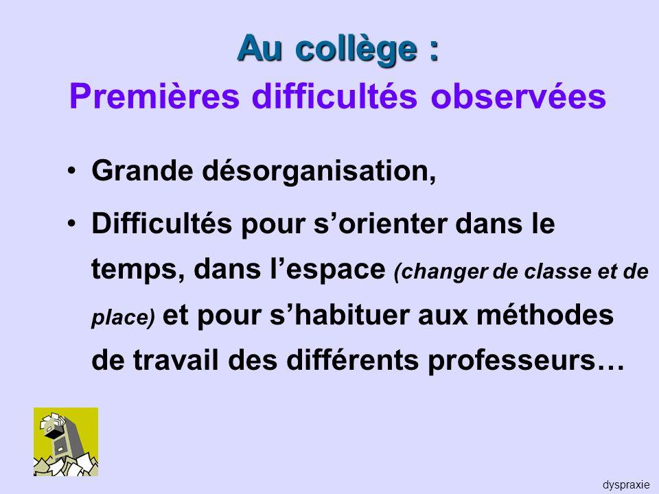 Au collège : Premières difficultés observées