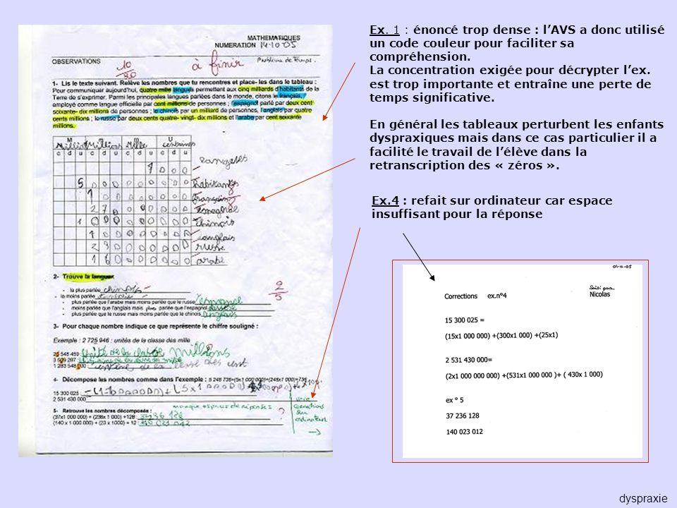 Ex. 1 : énoncé trop dense : l'AVS a donc utilisé un code couleur pour faciliter sa compréhension.