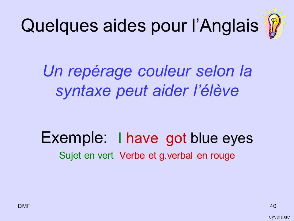 Quelques aides pour l'Anglais