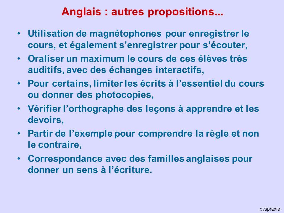 Anglais : autres propositions...