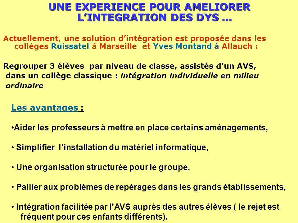 UNE EXPERIENCE POUR AMELIORER L'INTEGRATION DES DYS …