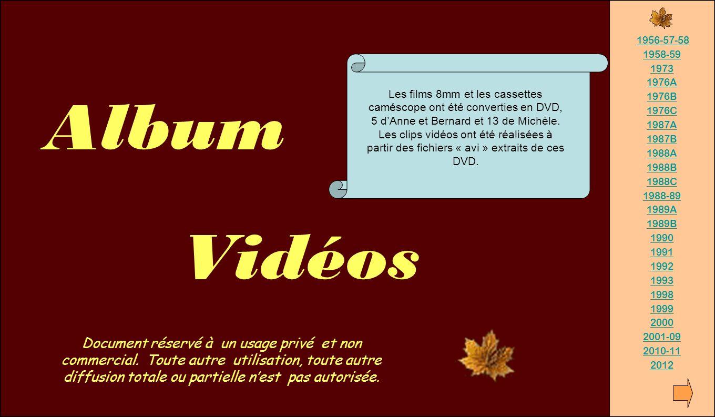 Album Vidéos. 1956-57-58. 1958-59. 1973. 1976A. 1976B. 1976C. 1987A. 1987B. 1988A. 1988B.