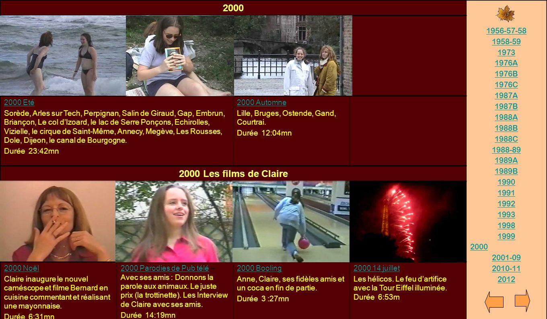 2000 2000 Les films de Claire 1956-57-58 1958-59 1973 1976A 1976B