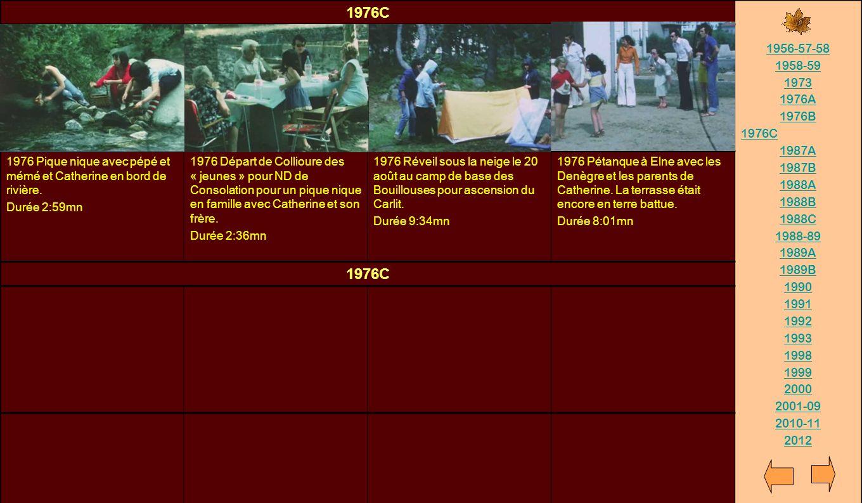 1976C 1956-57-58. 1958-59. 1973. 1976A. 1976B. 1987A. 1987B. 1988A. 1988B. 1988C. 1988-89.