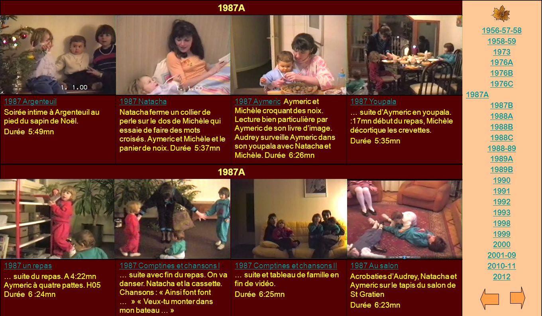1987A 1956-57-58. 1958-59. 1973. 1976A. 1976B. 1976C. 1987B. 1988A. 1988B. 1988C. 1988-89.