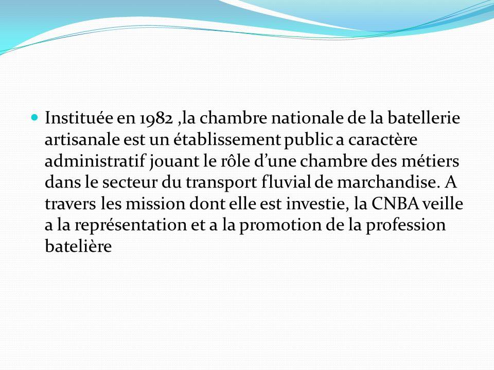 Instituée en 1982 ,la chambre nationale de la batellerie artisanale est un établissement public a caractère administratif jouant le rôle d'une chambre des métiers dans le secteur du transport fluvial de marchandise.