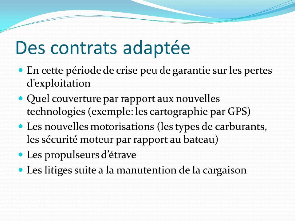 Des contrats adaptée En cette période de crise peu de garantie sur les pertes d'exploitation.