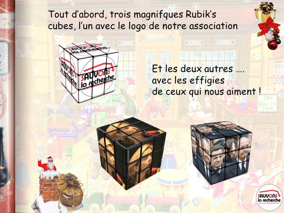 Tout d'abord, trois magnifques Rubik's cubes, l'un avec le logo de notre association