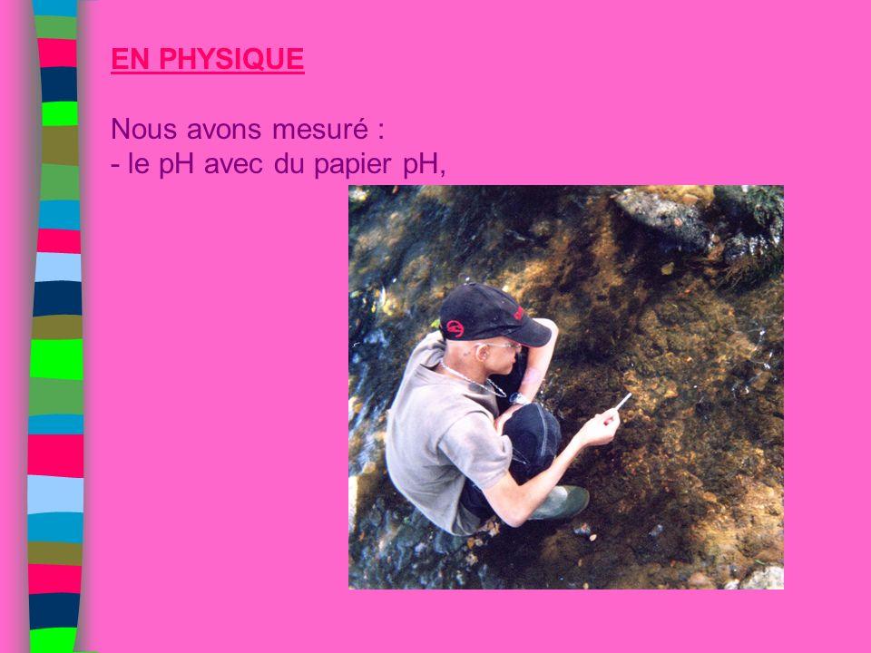 EN PHYSIQUE Nous avons mesuré : - le pH avec du papier pH,