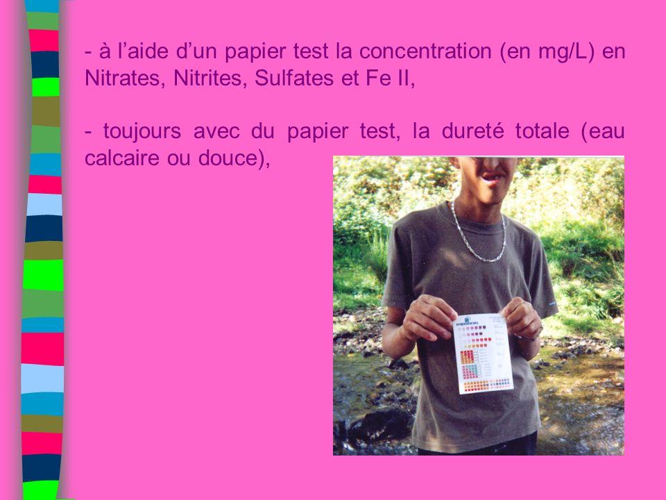 - à l'aide d'un papier test la concentration (en mg/L) en Nitrates, Nitrites, Sulfates et Fe II,