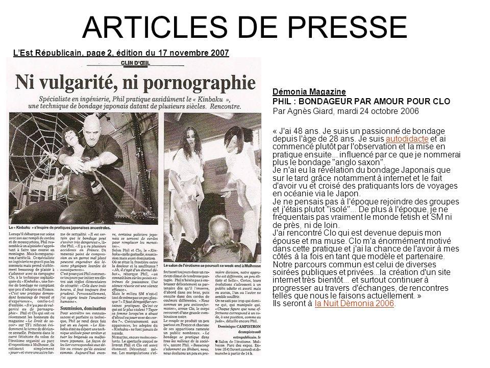ARTICLES DE PRESSE L'Est Républicain, page 2, édition du 17 novembre 2007. Démonia Magazine. PHIL : BONDAGEUR PAR AMOUR POUR CLO.