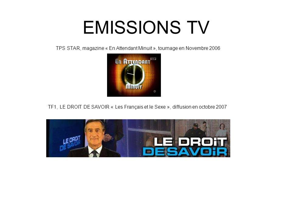 EMISSIONS TV TPS STAR, magazine « En Attendant Minuit », tournage en Novembre 2006.