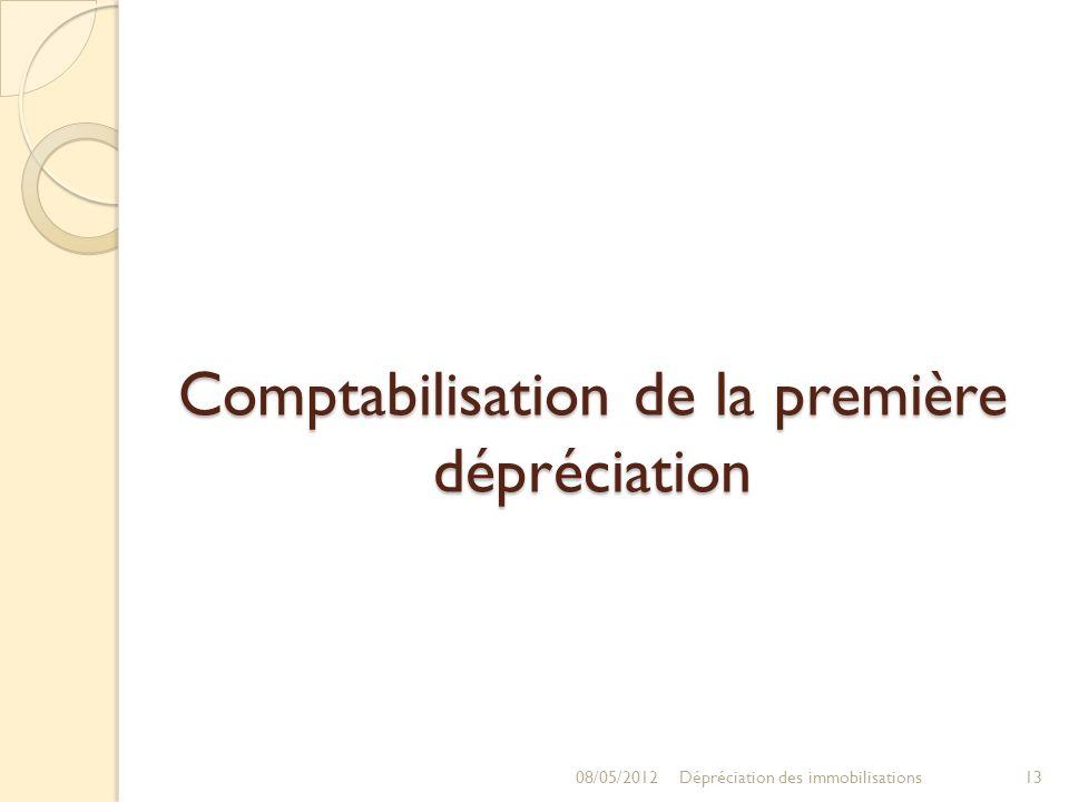 Comptabilisation de la première dépréciation