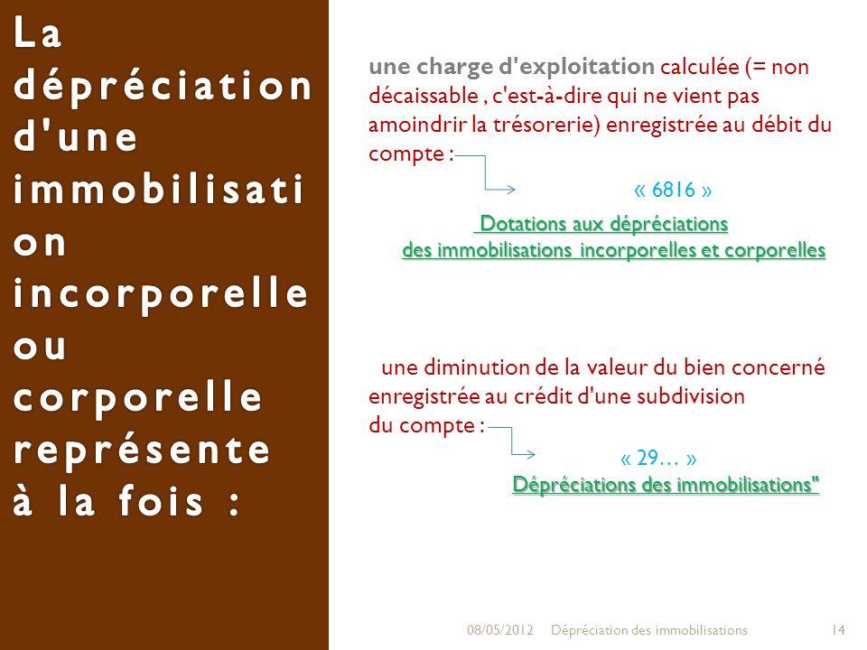 La dépréciation d une immobilisation incorporelle ou corporelle représente à la fois :