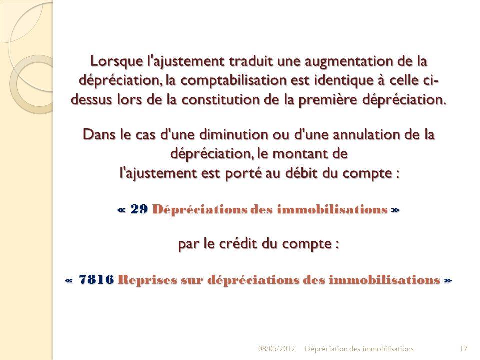 Lorsque l ajustement traduit une augmentation de la dépréciation, la comptabilisation est identique à celle ci-dessus lors de la constitution de la première dépréciation. Dans le cas d une diminution ou d une annulation de la dépréciation, le montant de l ajustement est porté au débit du compte : « 29 Dépréciations des immobilisations » par le crédit du compte : « 7816 Reprises sur dépréciations des immobilisations »