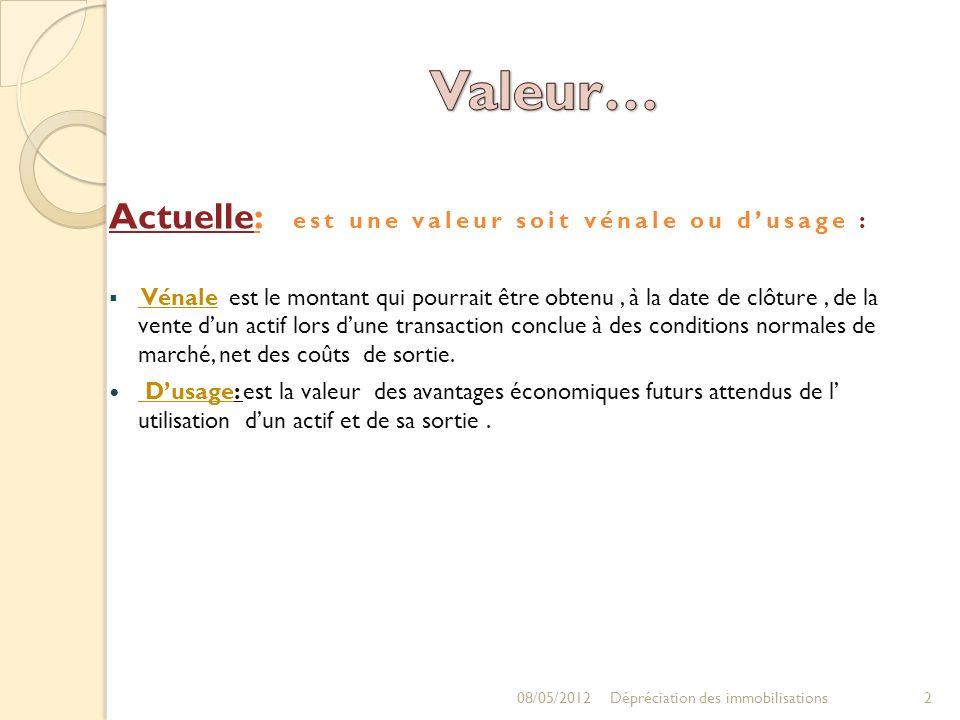 Valeur… Actuelle: est une valeur soit vénale ou d'usage :