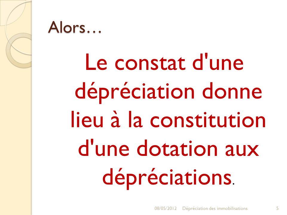 Alors… Le constat d une dépréciation donne lieu à la constitution d une dotation aux dépréciations.