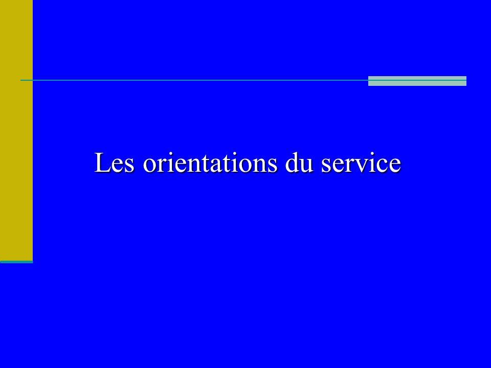 Les orientations du service