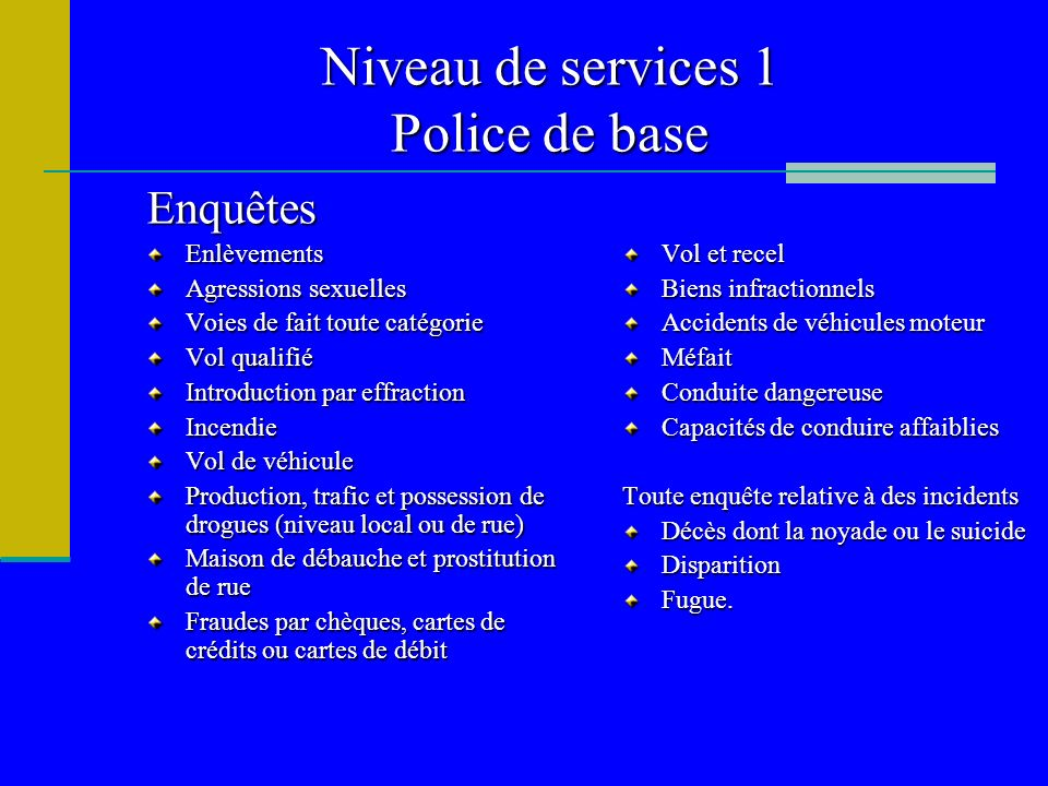 Niveau de services 1 Police de base