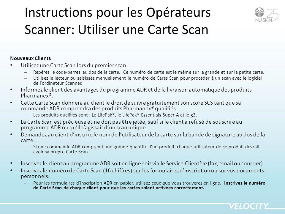 Instructions pour les Opérateurs Scanner: Utiliser une Carte Scan