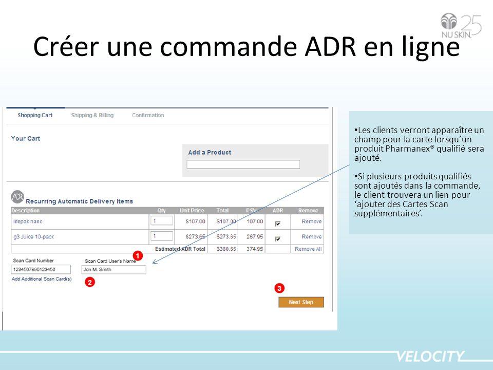 Créer une commande ADR en ligne