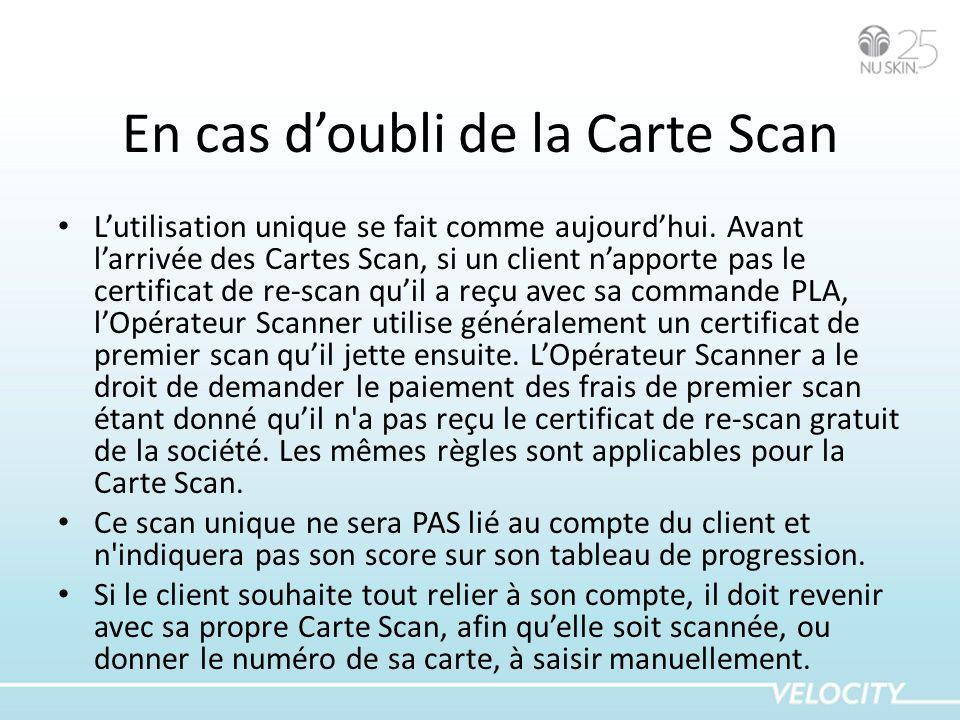 En cas d'oubli de la Carte Scan
