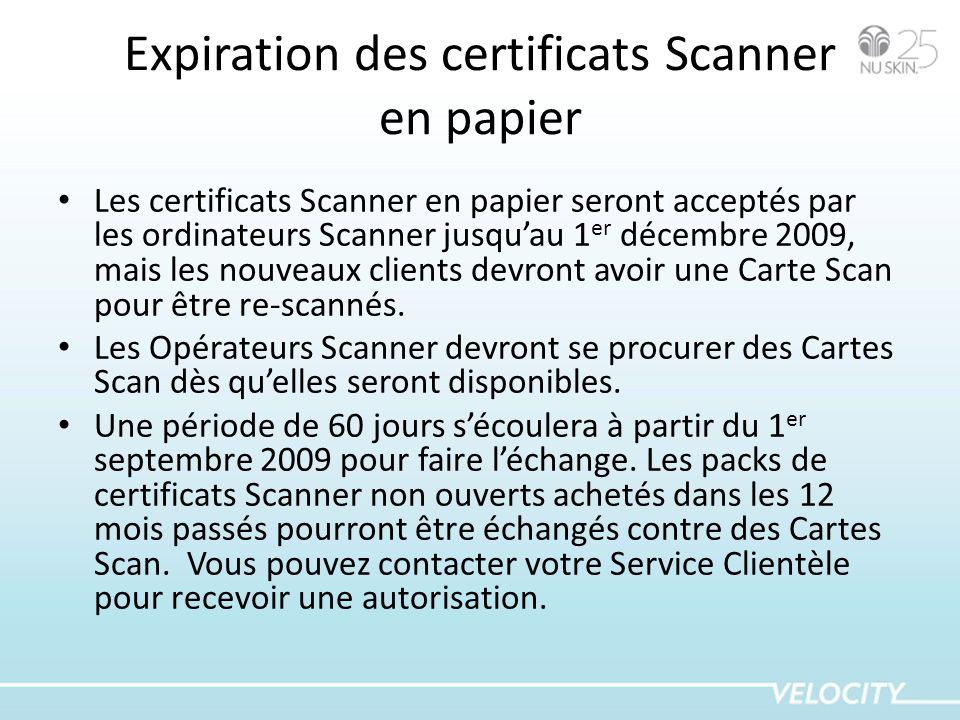 Expiration des certificats Scanner en papier