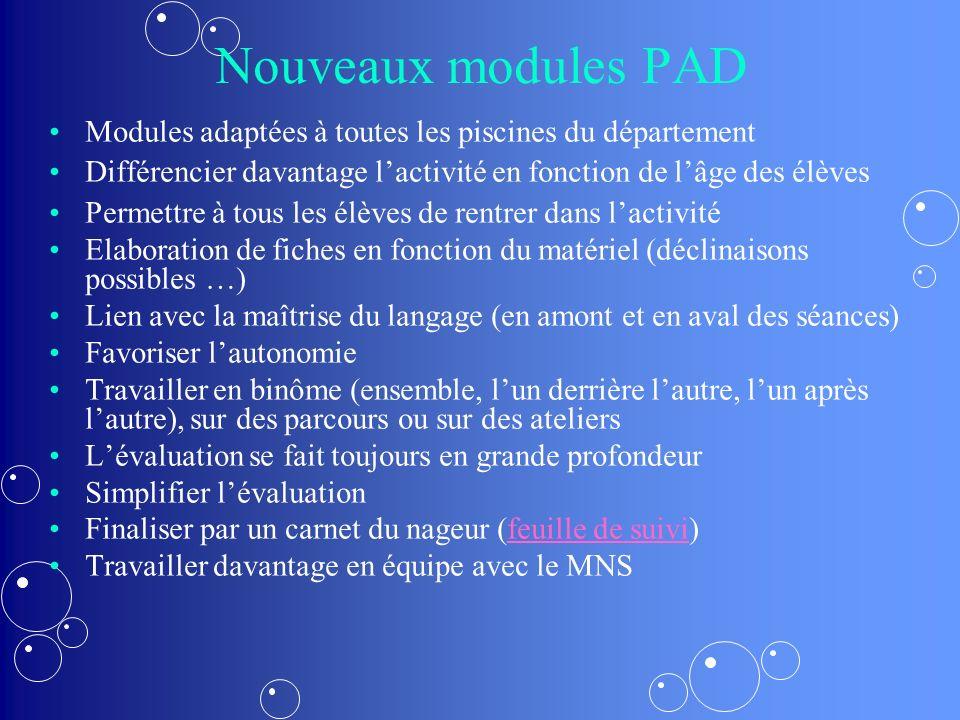 Nouveaux modules PAD Modules adaptées à toutes les piscines du département. Différencier davantage l'activité en fonction de l'âge des élèves.