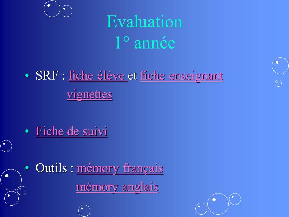 Evaluation 1° année SRF : fiche élève et fiche enseignant vignettes