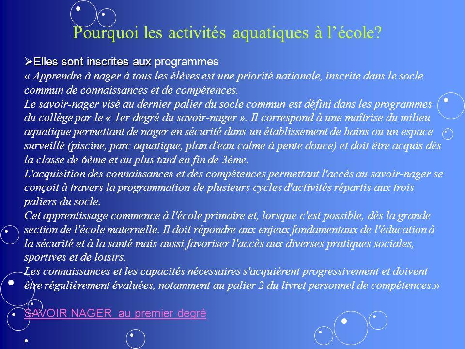 Pourquoi les activités aquatiques à l'école