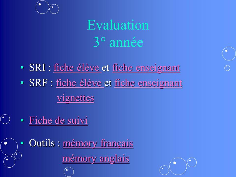 Evaluation 3° année SRI : fiche élève et fiche enseignant