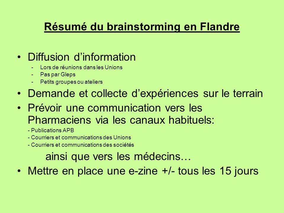 Résumé du brainstorming en Flandre