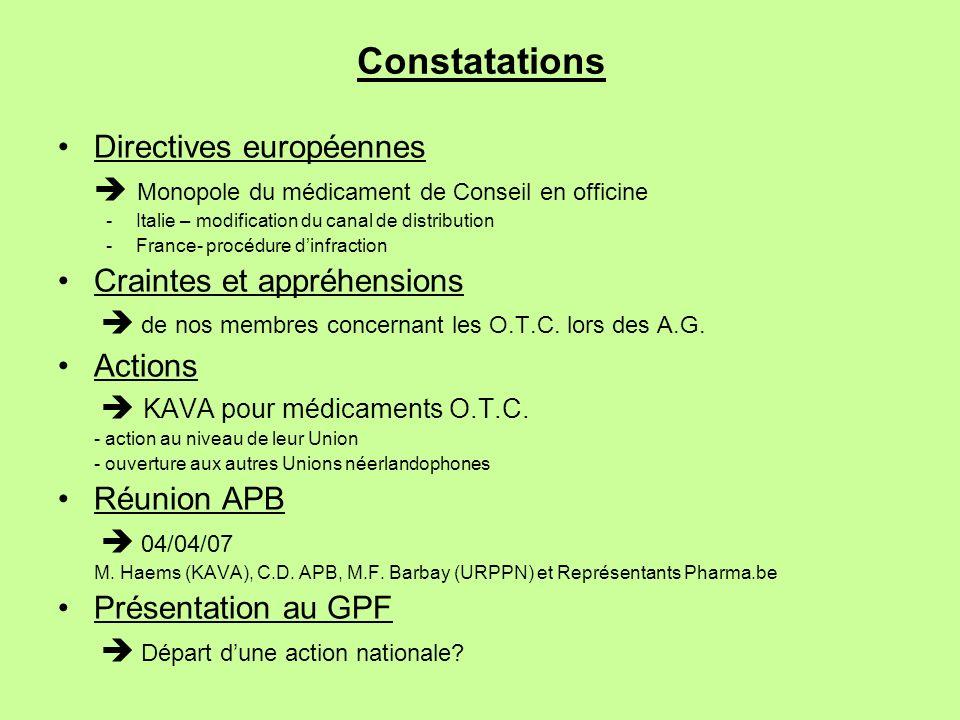Constatations Directives européennes