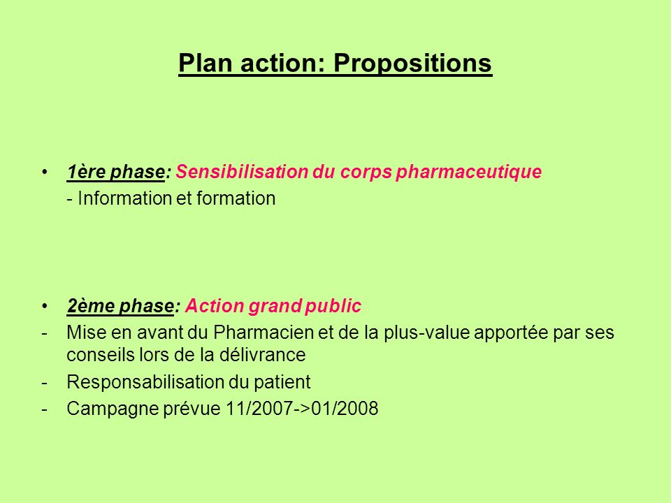 Plan action: Propositions