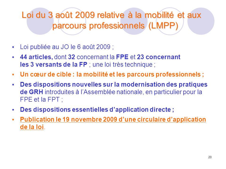 Loi du 3 août 2009 relative à la mobilité et aux parcours professionnels (LMPP)